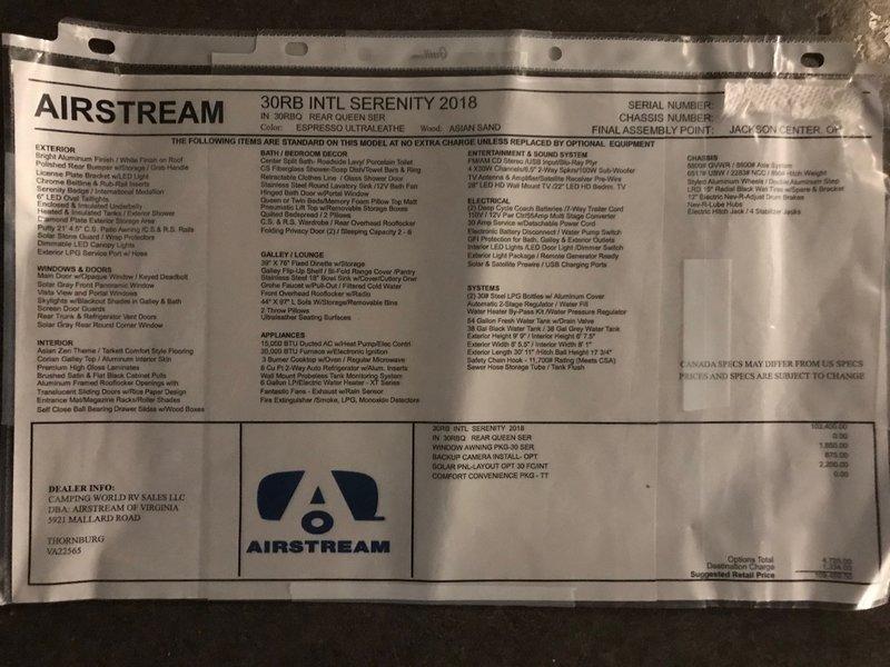 2018 Airstream International Serenity 30RB Queen