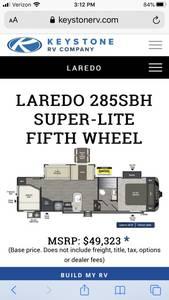 2017 Keystone Laredo Super Lite 285SBH