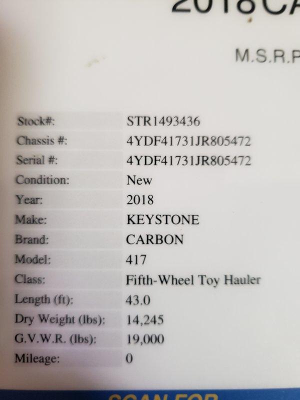 2018 Keystone Carbon 417