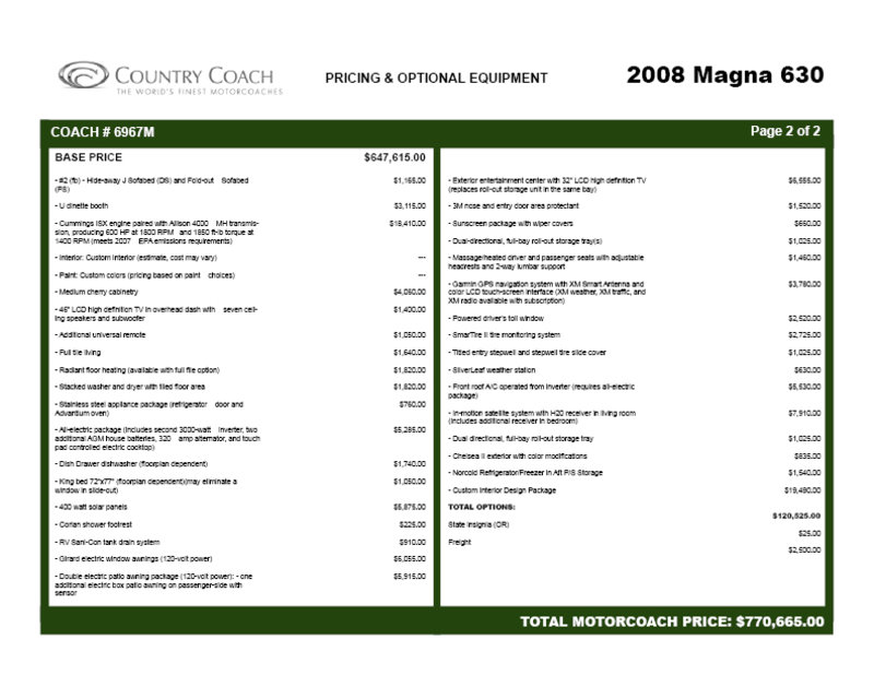 2008 Country Coach Magna 630