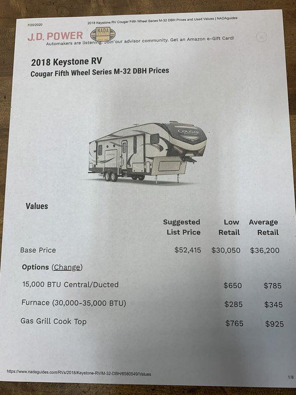 2018 Keystone Cougar Half Ton 32 DBH