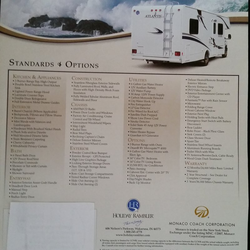 2007 Holiday Rambler Atlantis 131SE