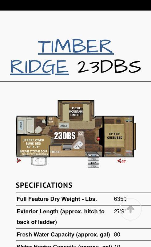 2019 Outdoors RV Mountain Series Timber Ridge 23DBS