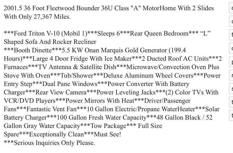 2001 Fleetwood Bounder